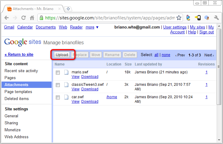 Google Sites | Upload A File to Google Sites | Page 01