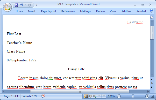 Mla style template in word 2003 save your file as a template to be used over and over again your document should look just like this pronofoot35fo Images