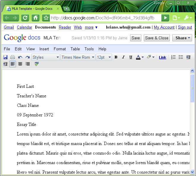 Google Docs: How to Set Up MLA Format 2015 - YouTube
