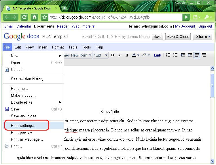how to add pages number in google docs