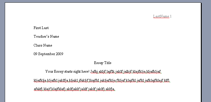 Mla format definition essay