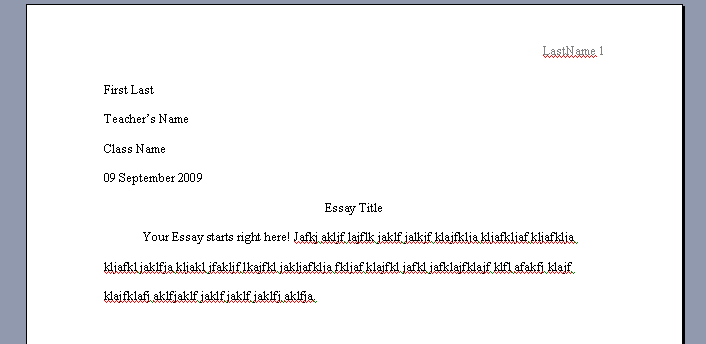 Mla format for essays